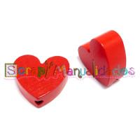 Figurita madera PREMIUM- Corazon picudito 20x18 mm - Rojo 14