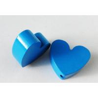Figurita madera PREMIUM- Corazon picudito 20x18 - Azul medio  20