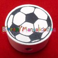 Figurita de madera PREMIUM- Balon de futbol 20 mm- Blanco 01