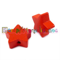 Figurita de madera PREMIUM- Estrella 22 mm - Rojo 14