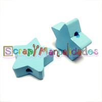 Figurita de madera PREMIUM- Estrella 22 mm - Azul bebe 18