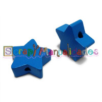 Figurita de madera PREMIUM- Estrella 22 mm - Azul 20