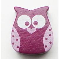 Figurita madera PREMIUM- Buho purpura / rosa ( talad vertical)