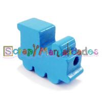 Figurita de madera PREMIUM- Trenecito azul celeste 25x15x10 mm