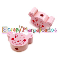 Figurita madera PREMIUM- Osito happy 22x15 mm - ROSA