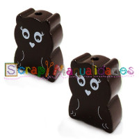 Figurita madera PREMIUM- Figura buho 28x22 mm- Chocolate 023