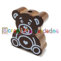 Figurita madera PREMIUM- Osito Teddy 30x27 mm- Marron choco