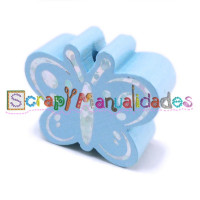 Figurita madera PREMIUM- Figura mariposa 26x23 mm-  Azul bebe 18