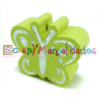 Figurita madera PREMIUM- Figura mariposa 26x23 mm-Verde limon 26