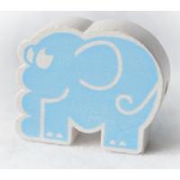 Figurita de madera PREMIUM-  Elefante 30x30 mm- Azul bebe