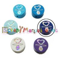 Figurita PREMIUM-  Moneda Chupete Corazón 20 mm- Azul marino 21