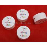 Figurita PREMIUM-  Moneda blanca 20 mm- Papa+Mama= Bebe