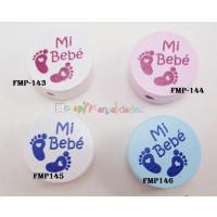 Figurita PREMIUM-  Moneda rosa bebe  y fucsia 20 mm- Mi bebe