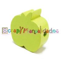 Figurita de madera PREMIUM- Manzana 20x20 mm- Verde limón