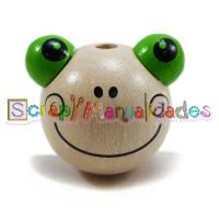 Figurita 3D madera PREMIUM- Ranita sonriente 25x25 mm natural