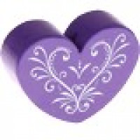 Figurita madera PREMIUM- Corazon CURLY 30x25 mm  - Morado