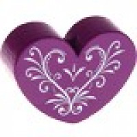 Figurita madera PREMIUM- Corazon CURLY 30x25 mm  - Purpura