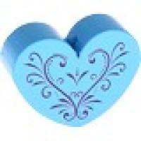 Figurita madera PREMIUM- Corazon CURLY 30x25 mm  - Azul celeste