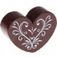 Figurita madera PREMIUM- Corazon CURLY 30x25 mm  - Marron
