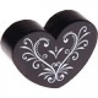 Figurita madera PREMIUM- Corazon CURLY 30x25 mm  - Negro