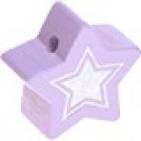 Figurita de madera PREMIUM- Estrella 22 mm Glitz - Lila 06