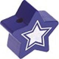 Figurita de madera PREMIUM- Estrella 22 mm Glitz - Azul marino