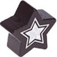 Figurita de madera PREMIUM- Estrella 22 mm Glitz - Negro 44