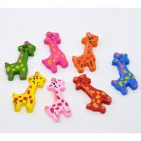 Figurita jirafa de madera colores 36x19 mm  Lote 10 uds