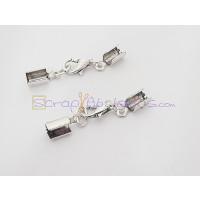 Cierre broche collar BAÑO PLATA (terminal con taladro 3 mm)- 1 unidad