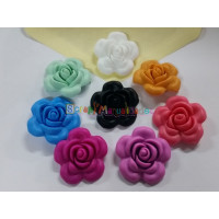 Figurita de silicona- Flor rosa 40 mm- Color Negro 44