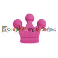 Figurita de silicona- Corona 32x28 mm- Color Fucsia 05