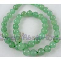 Hilera bolas de gema natural AVENTURINA verde claro 8 mm. 50 uds