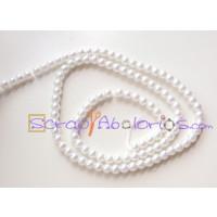 Hilera de perla cristal 4 mm color blanco ( 200 uds aprox)