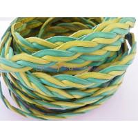 Cordón lato trenzado plano 10 mm. 4 cabos.Verde/amarillo (20 cm)