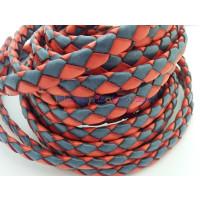 Tira de lato trenzado plano 10 mm. Bicolor rojo/azul (20 cm)