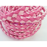 Tira de lato trenzado plano 10 mm. Bicolor fucsia/rosa (20 cm)