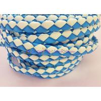 Tira de lato trenzado plano 10 mm. Bicolor azul/blanco (20 cm)