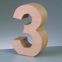 Numero 3 de carton 17.5x5.5 cm para decorar con tecnicas Scrap