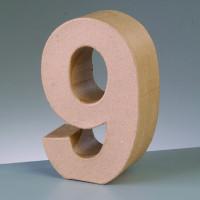 Numero 9 de carton 17.5x5.5 cm para decorar con tecnicas Scrap
