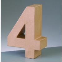 Numero 4 de carton 10/10.5x3 cm para decorar con tecnicas Scrap