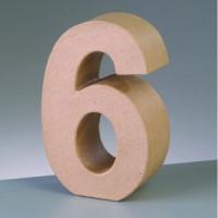 Numero 6 de carton 10/10.5x3 cm para decorar con tecnicas Scrap