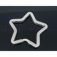 Anilla Llavero color plateado estrella 35x33 mm
