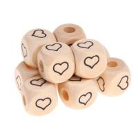 Cubo madera natural alfabeto 11x11 mm, Corazon (calidad alemana)