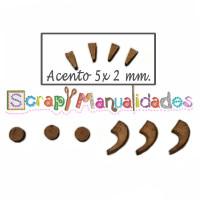 Letras madera DM adhesiva- Minusculas enlazadas - Acento 5x2mm