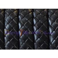 Cuero trenzado palote 100% cuero 10x5.5 mm negro ( 0.5 metro)
