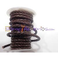 Cuero trenzado 100% cuero 3 mm color marron  ( 0.5 metro)