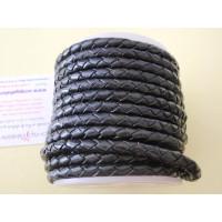 Cuero trenzado 100% cuero 3 mm color negro  ( 0.5 metro)