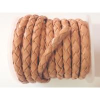 Cuero trenzado 100% cuero 4 mm salmon pastel ( 0.5 metro)