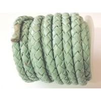 Cuero trenzado 100% cuero 5 mm color turques pastel ( 0.5 metro)