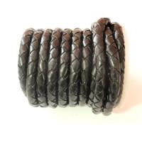 Cuero trenzado 100 cuero 6 mm color negro ( 0.5 metro)